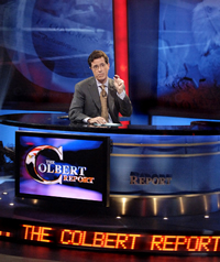 Steven Colbert on his show's set